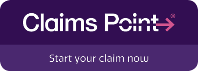 "A button that reads ""Claims Point®. Start your claim now""."